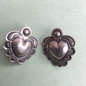 Signed Sterling Silver Valentine Heart Earrings